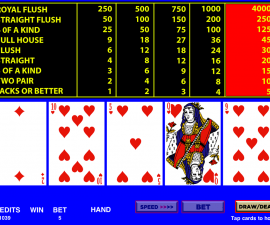 Video poker play